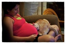 zwangere vrouw met kat